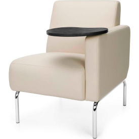 OFM Triumph Series Modular Left Arm Lounge Chair with Tungsten Tablet, Polyurethane, Cream