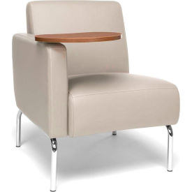 OFM Triumph Series Modular Right Arm Lounge Chair with Bronze Tablet, Polyurethane, Cream