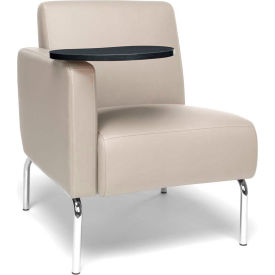 OFM Triumph Series Modular Right Arm Lounge Chair with Tungsten Tablet, Polyurethane, Cream