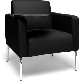 OFM Triumph Series Modular Lounge Chair with Arms and Tungsten Tablet, Polyurethane, Black
