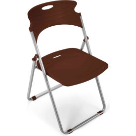 OFM Plastic Folding Chairs Chocolate Package Count 4 by