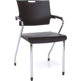 OFM Stacking Guest Chair -Plastic Seat/Back Blk