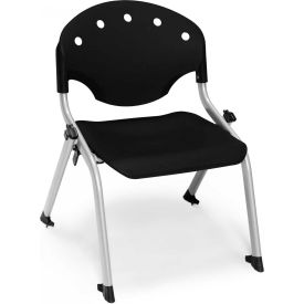 "OFM Rico 12""H Armless Stack Chair, Black - Pkg Qty 4"