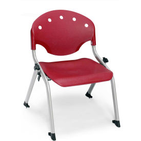 "OFM Rico 12""H Armless Stack Chair, Burgundy - Pkg Qty 4"