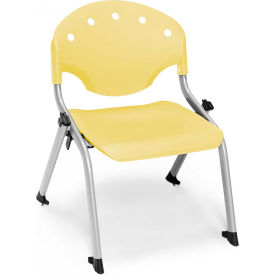 "OFM Rico 12""H Armless Stack Chair, Lemon Yellow - Pkg Qty 4"