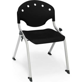 "OFM Rico 14""H Armless Stack Chair, Black - Pkg Qty 4"