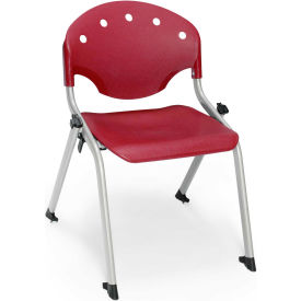 "OFM Rico 14""H Armless Stack Chair, Burgundy - Pkg Qty 4"