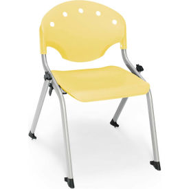 "OFM Rico 14""H Armless Stack Chair, Lemon Yellow - Pkg Qty 4"