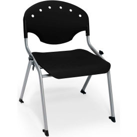 "OFM Rico 16""H Armless Stack Chair, Black - Pkg Qty 4"