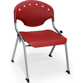 "OFM Rico 16""H Armless Stack Chair, Burgundy - Pkg Qty 4"