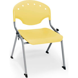 "OFM Rico 16""H Armless Stack Chair, Lemon Yellow - Pkg Qty 4"