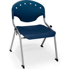 "OFM Rico 16""H Armless Stack Chair, Navy - Pkg Qty 4"