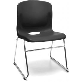 OFM Model 315 Multi-Use Stack Chair, Plastic Seat and Back, Black - Pkg Qty 4