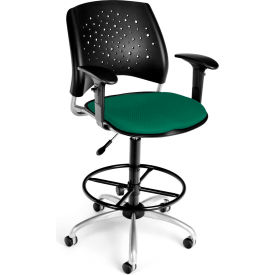OFM Stars Fabric Swivel Stool with Arms & Drafting Kit, Shamrock Green