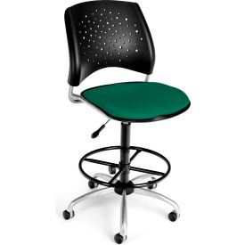 OFM Stars Fabric Swivel Stool with Drafting Kit, Shamrock Green