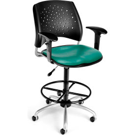 OFM Stars Vinyl Swivel Stool with Arms & Drafting Kit, Teal