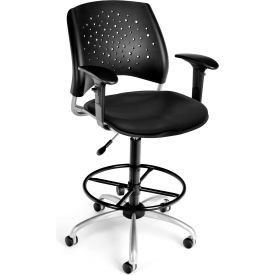 OFM Stars Vinyl Swivel Stool with Arms & Drafting Kit, Black