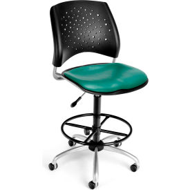 OFM Stars Vinyl Swivel Stool with Drafting Kit, Teal
