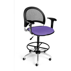 OFM Moon Fabric Swivel Stool with Arms & Drafting Kit, Lavender