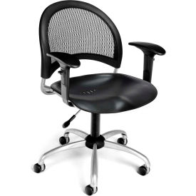 OFM Moon Series Swivel Task Chair with Arms, Plastic, Mid Back, Black