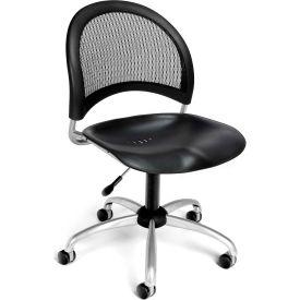 OFM Moon Series Swivel Armless Task Chair, Plastic, Mid Back, Black