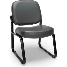 Vinyl Armless Guest/Reception Chair - Charcoal