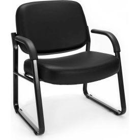 Big & Tall Vinyl Guest/Reception Chair Black
