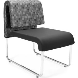 OFM Uno Series Lounge Chair, Fabric and Polyurethane, Nickel with Black - Pkg Qty 2