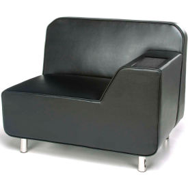 OFM Serenity Series Modular Left Arm Lounge Chair with Tungsten Table, Black