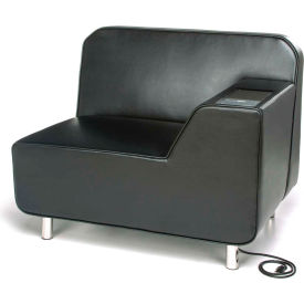 OFM Serenity Series Modular Left Arm Lounge Chair with Tungsten Table and Electrical Outlet, Black
