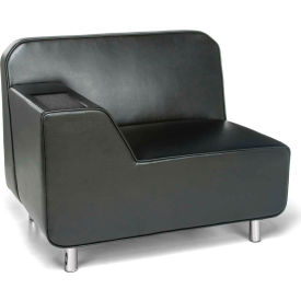 OFM Serenity Series Modular Right Arm Lounge Chair with Tungsten Table, Black