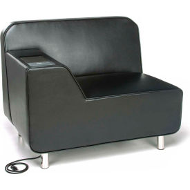 OFM Serenity Series Modular Right Arm Lounge Chair with Tungsten Table and Electrical Outlet, Black
