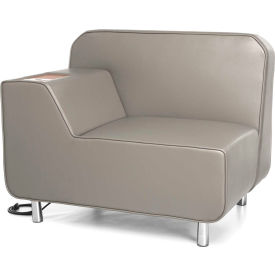 OFM Serenity Series Modular Right Arm Lounge Chair with Bronze Table and Electrical Outlet, Taupe
