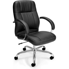 OFM Stimulus Series Leatherette Executive Mid Back Chair with Arms, Black