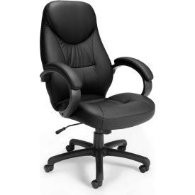OFM Stimulus Series Leatherette Executive High-Back Chair with Fixed Arms, Black