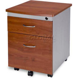 OFM Modular Wheeled Mobile 2-Drawer File Cabinet Pedestal, Cherry