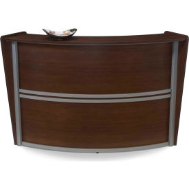 OFM Marque Series Single Unit Reception Station, Walnut with Silver Frame