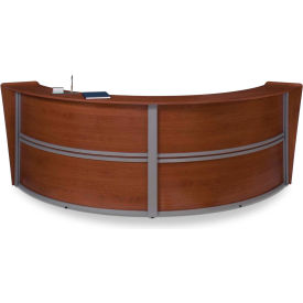 OFM Marque Series Double Unit Reception Station, Cherry with Silver Frame