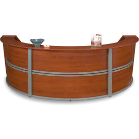 OFM Marque Series Triple Unit Reception Station, Cherry with Silver Frame