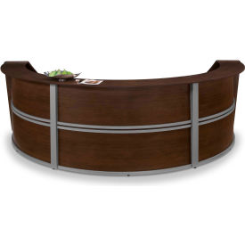 OFM Marque Series Triple Unit Reception Station, Walnut with Silver Frame