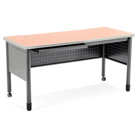 """OFM Mesa Series Steel Training Table and Desk with Pencil Drawers, 27.75"""" x 59"""", Maple Finish"""
