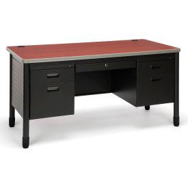 OFM Mesa Series Model 66360 5-Drawer Double Pedestal Teacher's Desk, Cherry