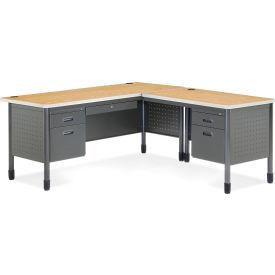 OFM Mesa Series L-Shaped Steel Desk with Single Pedestal Right Return - Laminate Top, Oak Finish