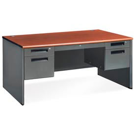 OFM Executive Series 5-Drawer Double Pedestal Panel End Desk with Laminate Top, Cherry Finish
