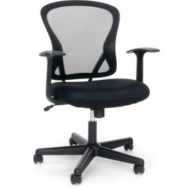 Essentials by OFM ESS-3011 Swivel Mesh Back Task Chair with Arms, Mid Back, Black