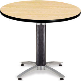 """OFM 36"""" Multi-Purpose Round Table with Metal Mesh Base, Oak"""
