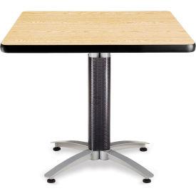 "OFM 36"" Multi-Purpose Square Table with Metal Mesh Base, Oak"