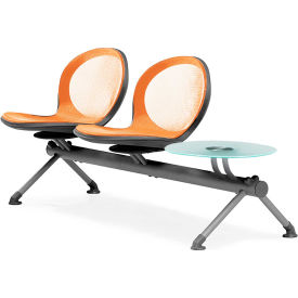 OFM NET Series 3-Unit Beam Seating with 2 Seats and 1 Table, Orange