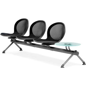 OFM NET Series 4-Unit Beam Seating with 3 Seats and 1 Table, Black