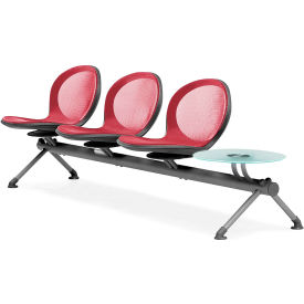 NET Series Beam with 3 Seats and 1 Table - Red